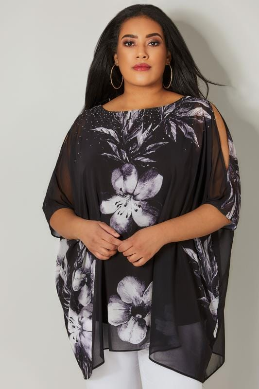 Plus Size Party Tops Black & Grey Floral Print Cape Style Top With Split Sleeves