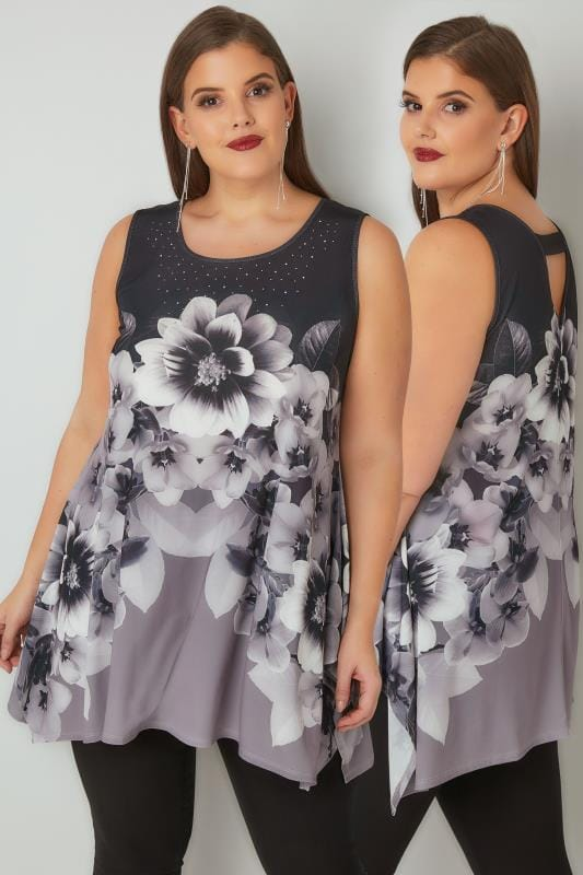 Black & Grey Floral Print Embellished Sleeveless Top With Hanky Hem