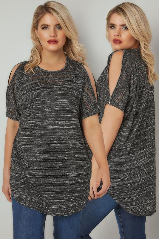 Plus Size Bardot & Cold Shoulder Tops Black & Grey Glitter Fine Knit Top With Zip Cold Shoulder Detail