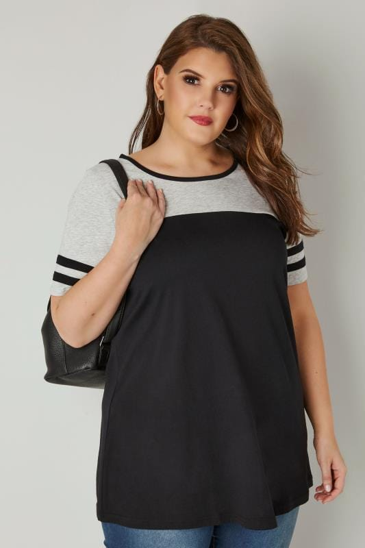 Plus Size Jersey Tops Black & Grey Jersey Colour Block Top With Short Sleeves