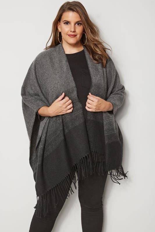 Plus Size Wraps Black & Grey Ombre Wrap