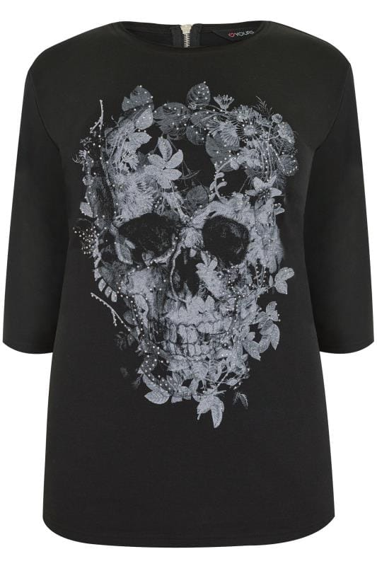 Black & Grey Skull Print Jersey Top With Stud Embellishment
