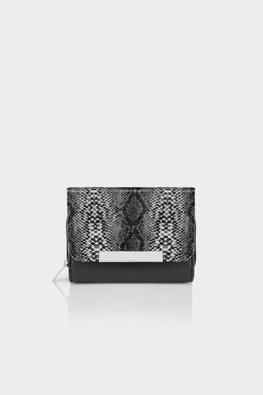 Plus Size Bags & Purses Black & Grey Snakeskin Effect Zip Around Purse