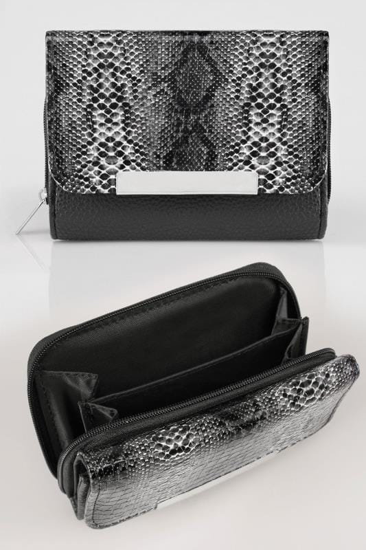 Bags & Purses Black & Grey Snakeskin Effect PU Zip Around Purse With Metal Bar Trim 152230