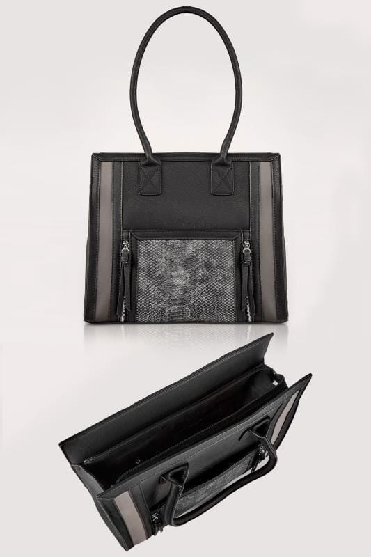 Black & Grey Snakeskin Effect Panelled Shopper Bag With Zip Details & Extended Handles