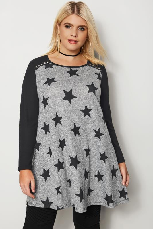 Black & Grey Star Swing Top