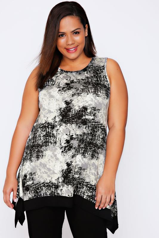 Black & Grey Stone Print Trapeze Hem Top With Contrast Border