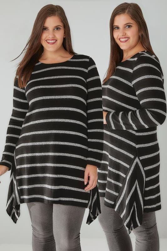 Black & Grey Stripe Knitted Top With Hanky Hem