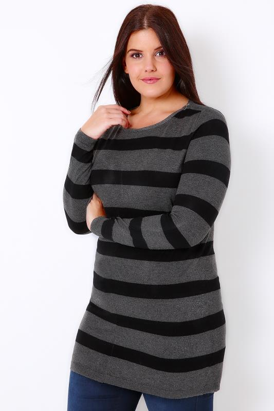 Black & Grey Stripe Longline Jumper With Silver Shoulder Zips