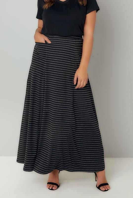 Grote maten maxi rokken Black & Grey Stripe Maxi Skirt With Pockets 160058