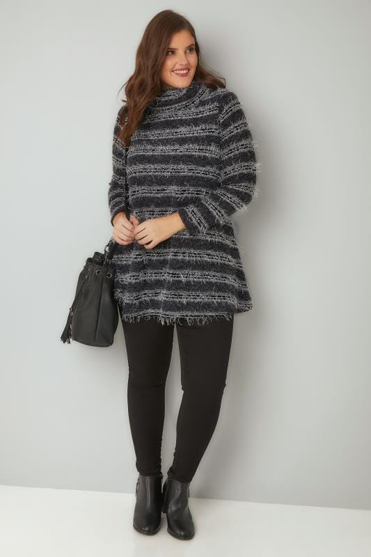 Black & Grey Striped Eyelash Jumper With Roll Neck