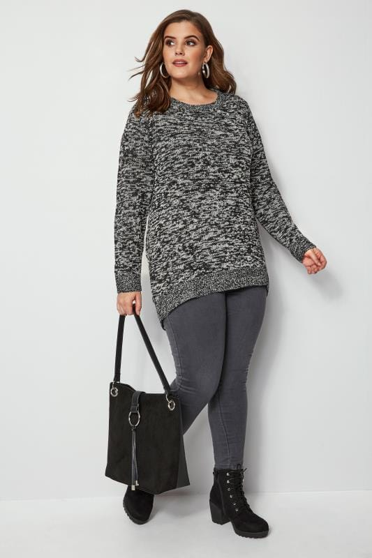 Black & Grey Twist Knitted Jumper