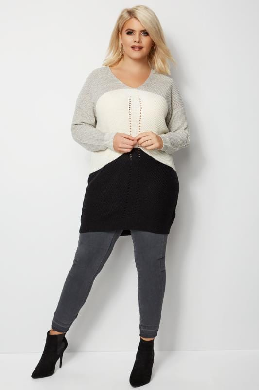 Black, Grey & White Chevron Knit Colour Block Jumper