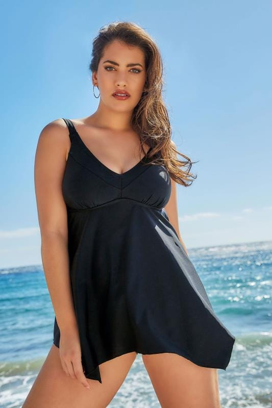 Plus Size Swim Dresses Black Hanky Hem Swimdress With Tummy Control