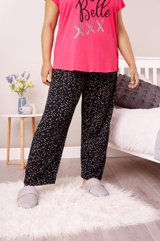 Plus Size Pyjamas Black Heart Print Pyjama Bottoms