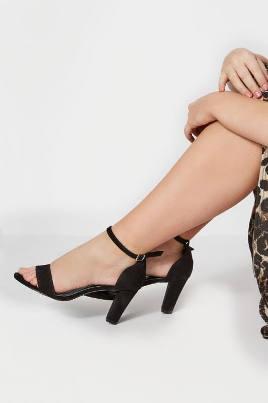 Black Heeled Sandals In EEE Fit