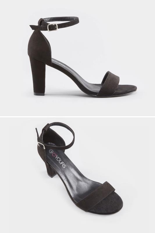 Wide Fit Sandals Black Heeled Sandals In EEE Fit