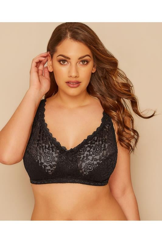 Plus Size Wireless Bras Black Hi Shine Lace Non-Wired Bra