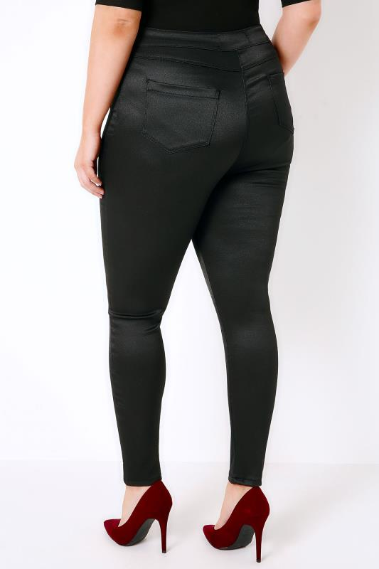 Black High Waisted Sateen Skinny Trousers