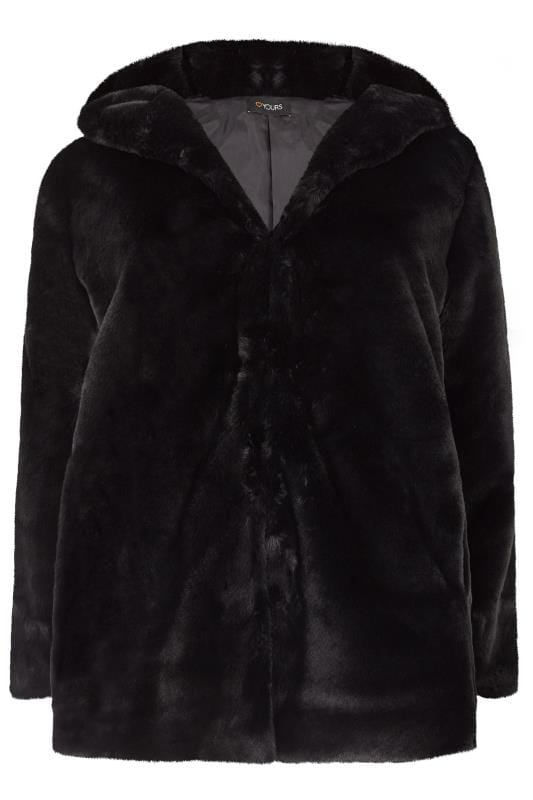 Plus Size Jackets Black Hooded Faux Fur Jacket