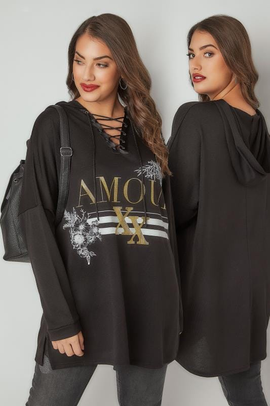 Plus Size Sweatshirts Black Hooded Sweater With Lattice Neckline & Slogan Print
