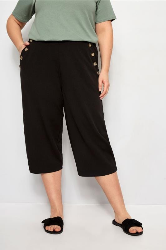 Plus Size Culottes Black Horn Button Culottes