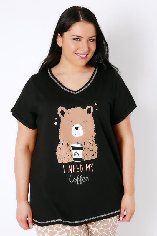 "Black ""I Need My Coffee"" Brown Bear Print Pyjama Top"