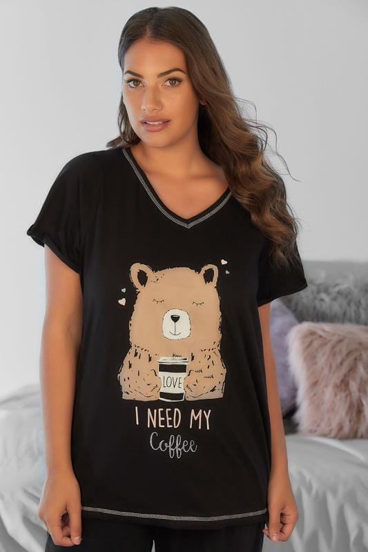 Black 'I Need My Coffee' Brown Bear Print Pyjama Top