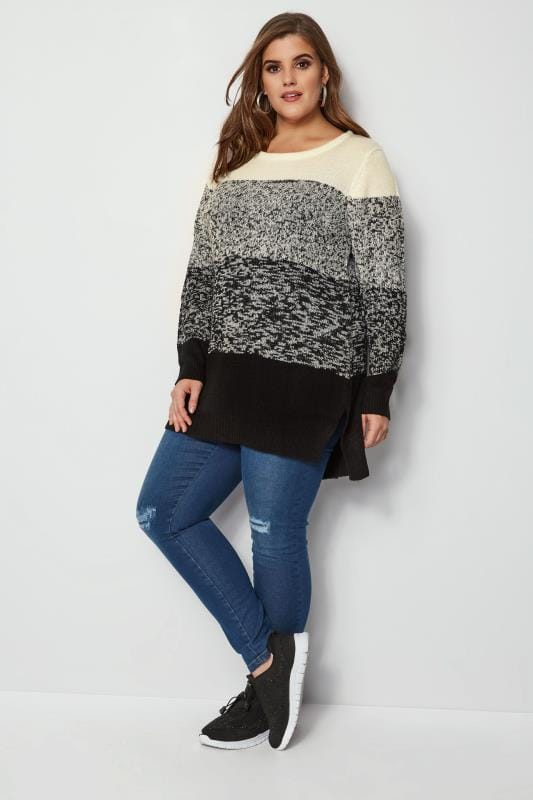 Black & Ivory Colour Block Longline Jumper