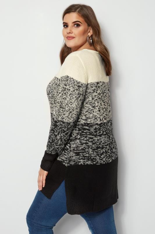 Plus Size Sweaters Black & Ivory Colour Block Longline Jumper