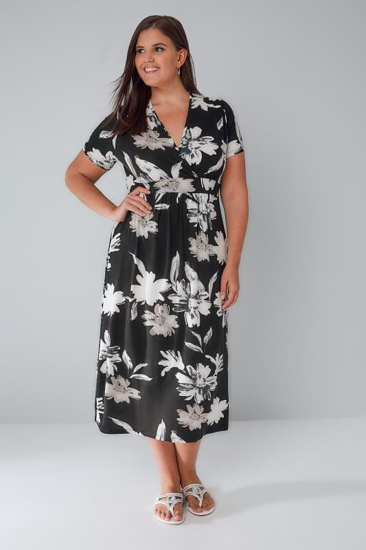 Black & Ivory Floral Wrap Over Jersey Midi Dress With Waist Tie