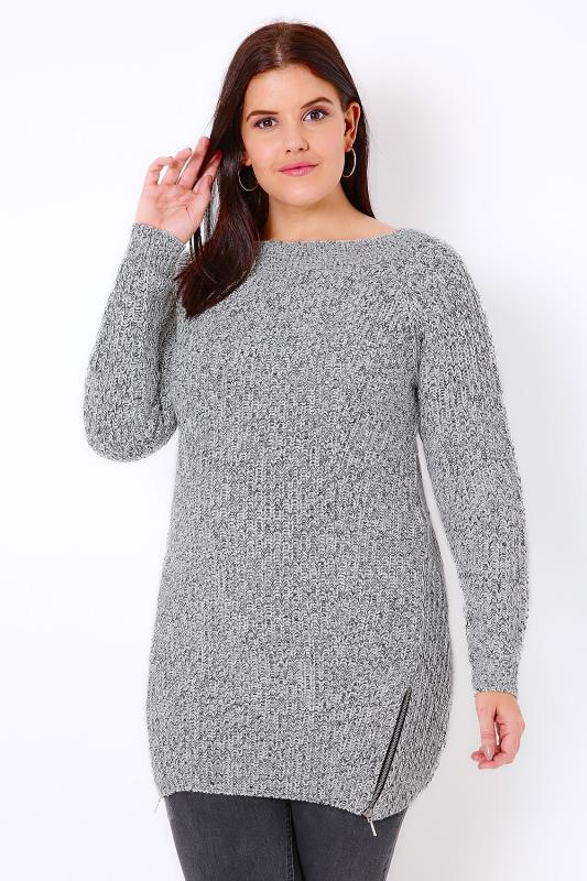 Black & Ivory Knitted Jumper With Zip Hem Detail