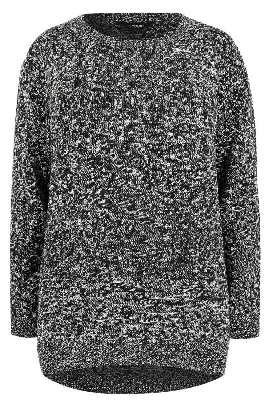 Black & Ivory Textured Jumper With Dipped Hem