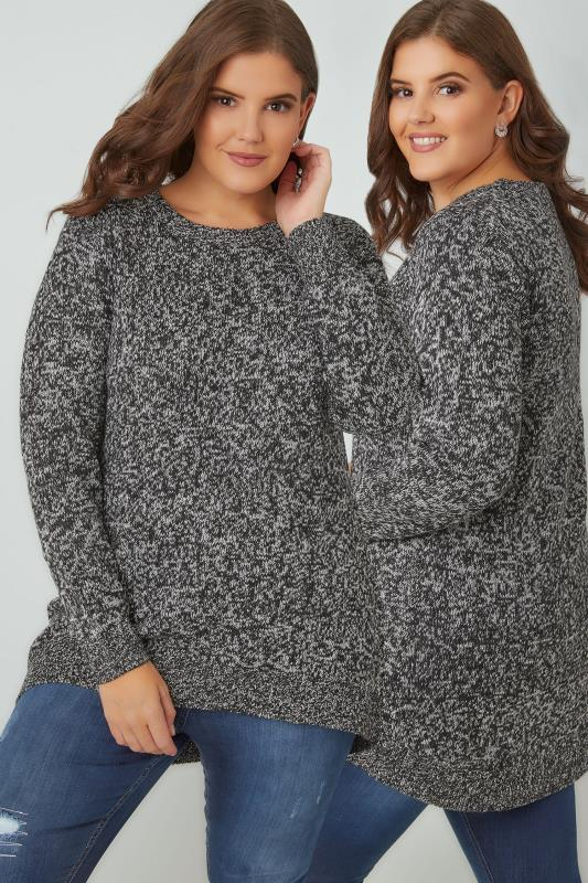 Plus Size Jumpers Black & Ivory Textured Jumper With Dipped Hem