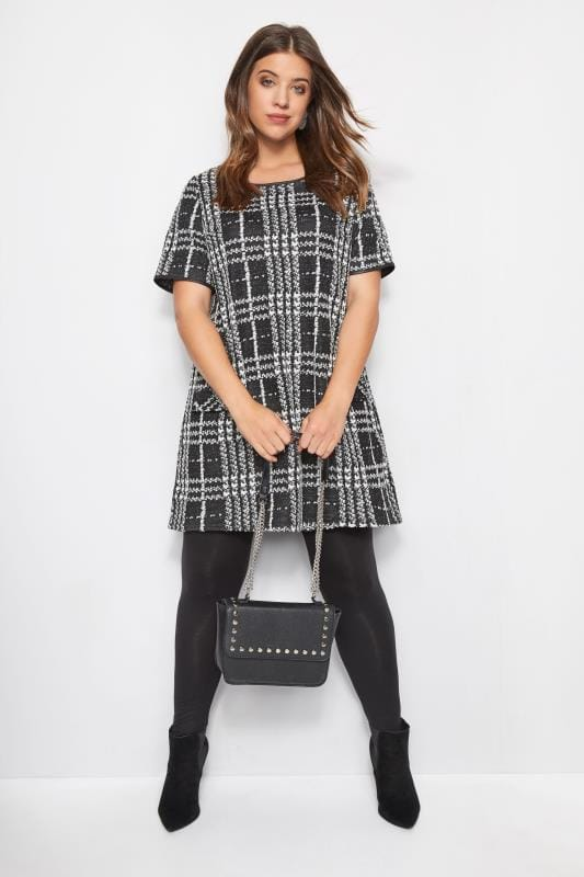 Plus Size Swing Dresses Black Jacquard Check Tunic Dress