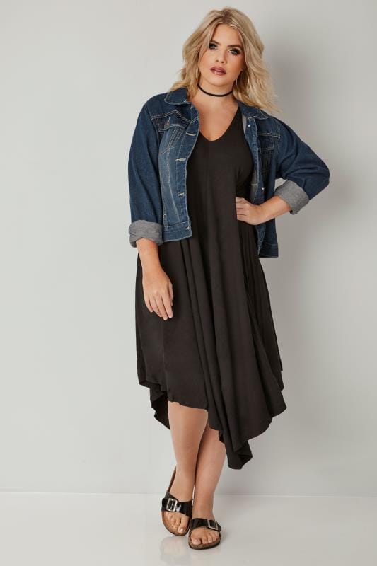 Black Jersey Asymmetric Swing Dress