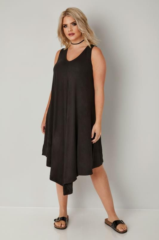 Plus Size Midi Dresses Black Jersey Asymmetric Swing Dress