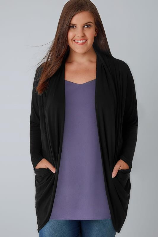 Cardigans Black Jersey Cardigan With Drape Pockets 134012