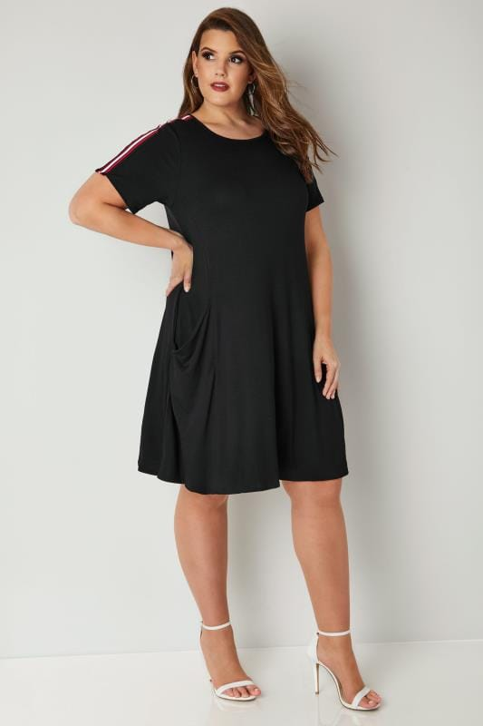 Black Drape Pocket Jersey Dress With Stripe Shoulders