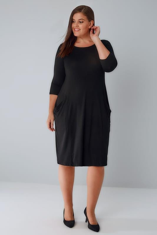 Black Jersey Dress With Drop Pockets & 3/4 Length Sleeves