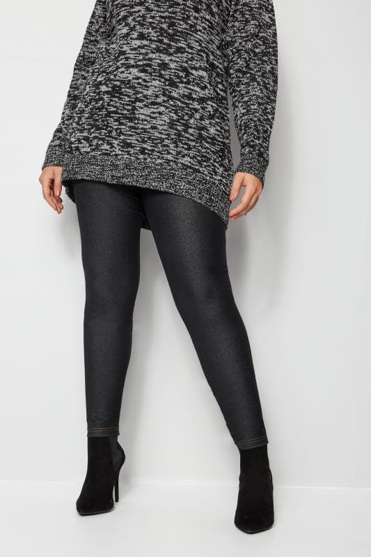 Plus Size Basic Leggings Black Jersey Jeggings