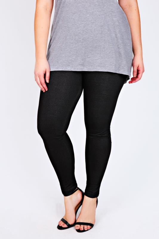 Black Jersey Jeggings With Black Denim Look Stitch Detailing