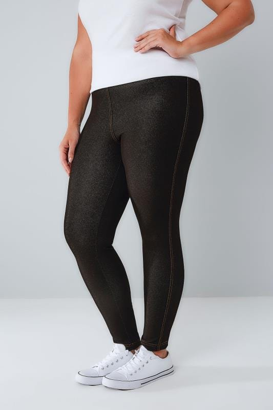 Black Jersey Jeggings With Gold Stitch Detail