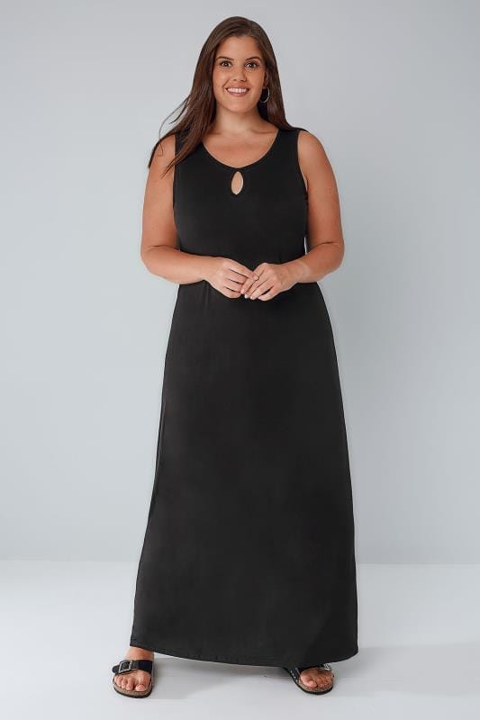 Black Jersey Maxi Dress With Keyhole Detail