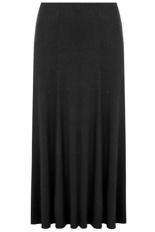 black jersey maxi skirt plus size 16 to 36