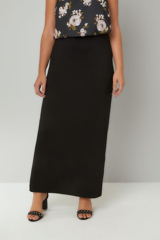 Plus Size Maxi Skirts Black Jersey Maxi Tube Skirt With Elasticated Waistband