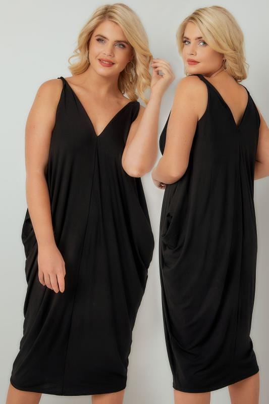Midi Dresses Black Jersey Oversized Cami Dress 136192