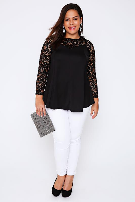 YOURS LONDON Black Jersey Peplum Top With Lace Yoke