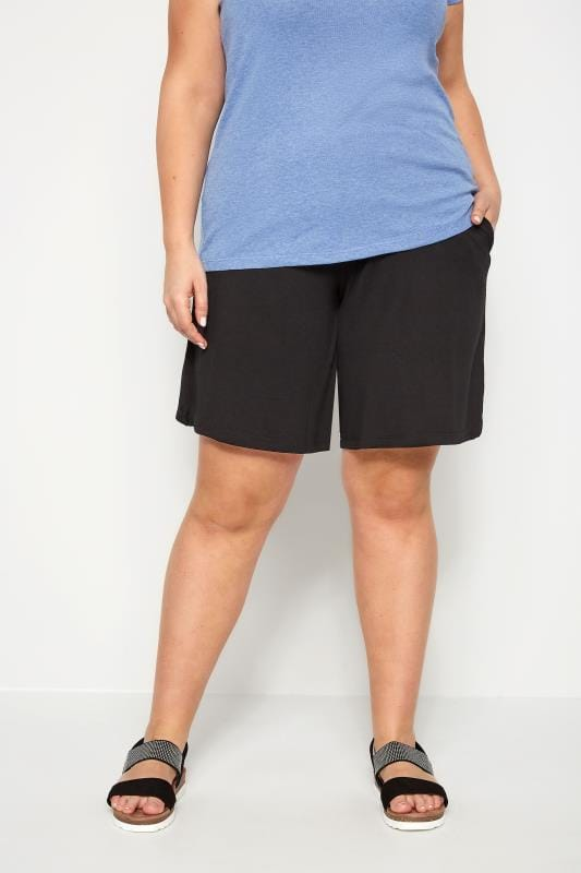 Plus Size Jersey Shorts Black Jersey Pull On Shorts