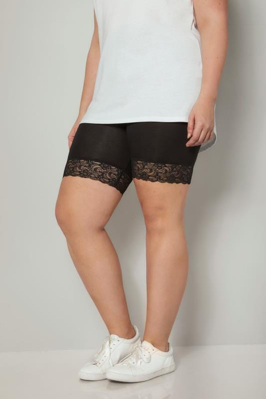 Black Jersey Shorts With Lace Trim